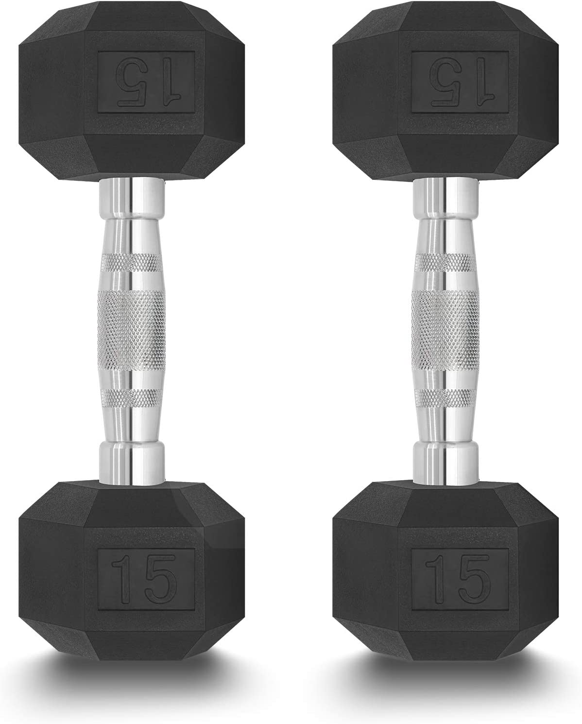 GEAR+ High quality 25% OFF 15lb Dumbbells Set of 2 15 Hex Weighs Dumbbell Rubber