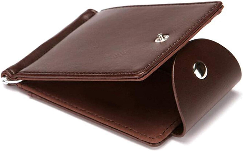 lquuo RFID Blocking Faux Leather Wallet Men Travel Credit Card Wallets Money Clip,Dark brown