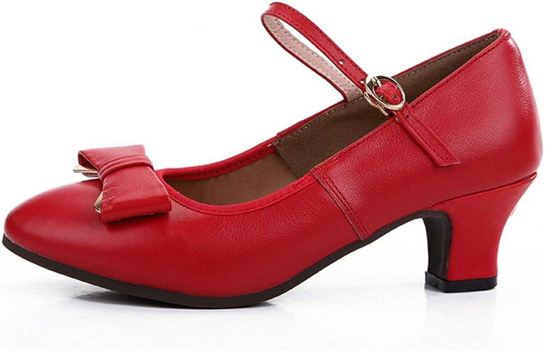 WXMDDN Female Dance shoes red shoes 5cm Heel Four Seasons Adult Soft Soles Dancing shoes