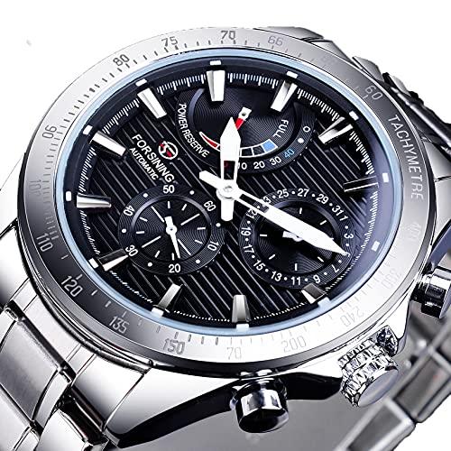 Excellent Reloj automático de Hombres con dial multifunción Impermeable dial Luminoso de Moda Ocio Reloj mecánico automático,A02