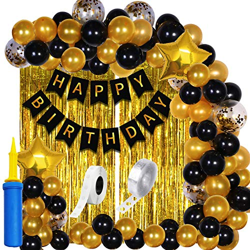 Party Propz Happy Birthday Decoration For Husband Kit Combo Set - 61pcs Birthday Banner Golden Foil Curtain Metallic Confetti...
