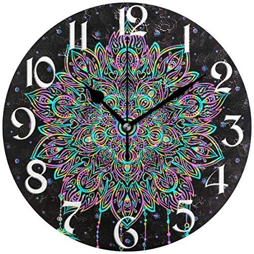 Night Ing Dreamcatcher Native Indian Talisman Horloge Murale Ronde Horloge De Bureau Décorative pour L'école De Bureau À Domicile