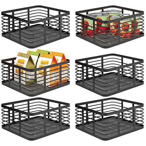 mDesign 6er-Set Allzweckkorb aus Metall – Aufbewahrungskorb für Küche, Vorratskammer, Bad etc. – kompakter und universeller Drahtkorb – schwarz