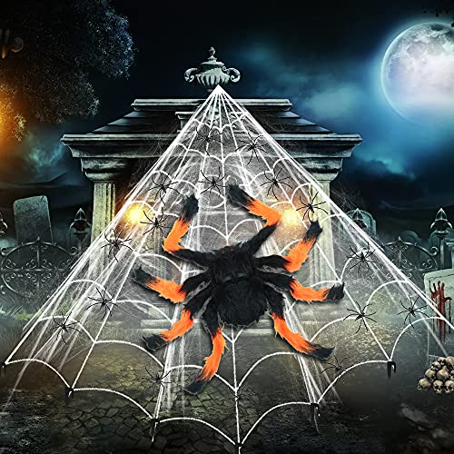Bluelves Decoraciones de Halloween, Telaraña de Halloween, Telaraña de Araña Espeluznante, Araña Naranja Negra, 20 Arañas Falsas, para Halloween Decoracion Exterior Fiesta