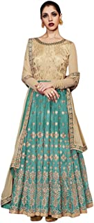 INMONARCH Womens Beige and Teal Handloom Silk Anarkali Suits SLRD11056