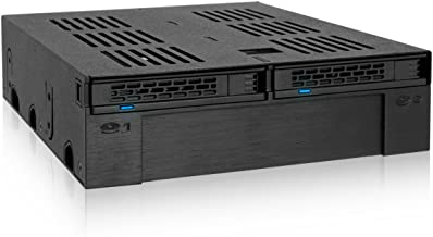 """ICY DOCK 2 x 2.5"""" SATA/SAS HDD/SSD to 5.25"""" Hot Swap Mobile Rack Cage w/ 3.5"""" Drive/Device Bay- ExpressCage MB322SP-B"""