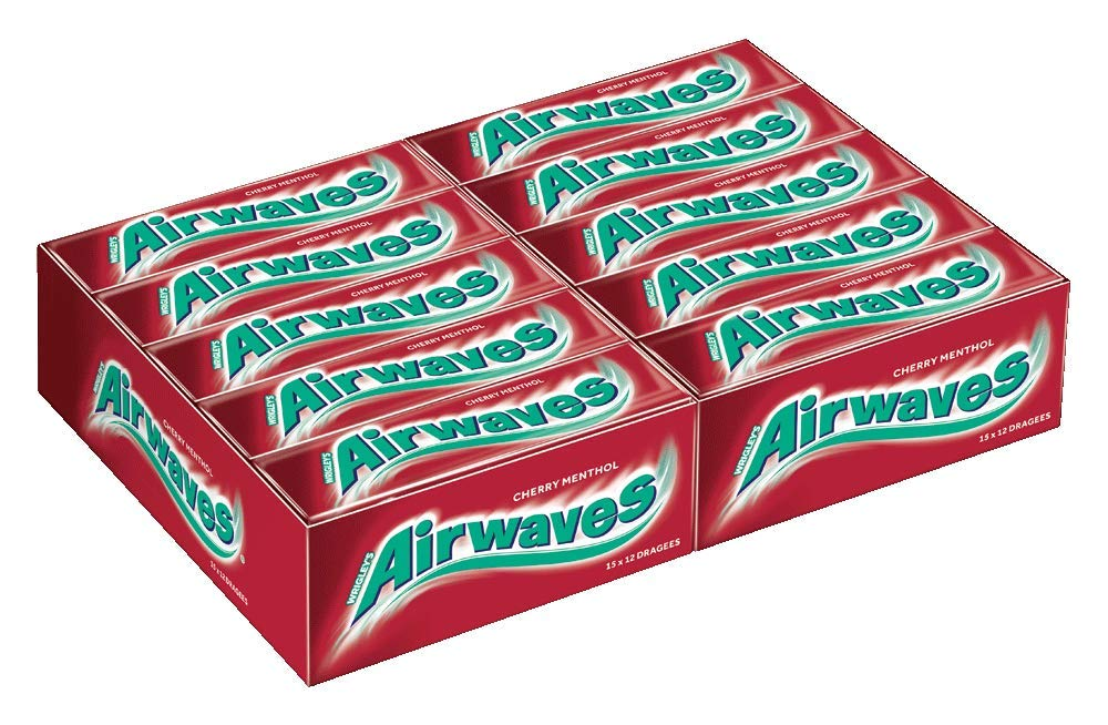wrigleys Airwaves Cherry mentol Dragees, Chicle, 30 Paquetes DE 12 kaugummis: Amazon.es: Hogar