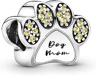SexyMandala Dog Footprint Charms Puppy Pet Anamial 12 لون كريستال سحر دانجل الخرزة صالح للأساور والعقود هدية للفتيات النساء