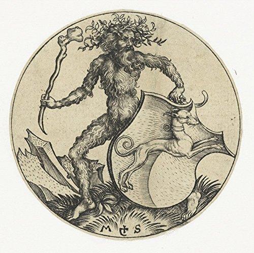 Das Museum Outlet–Mantel mit einem Hund, Held von einem Wild Man mit einem Club. 1470–1490–Leinwanddruck Online kaufen (152,4x 203,2cm)