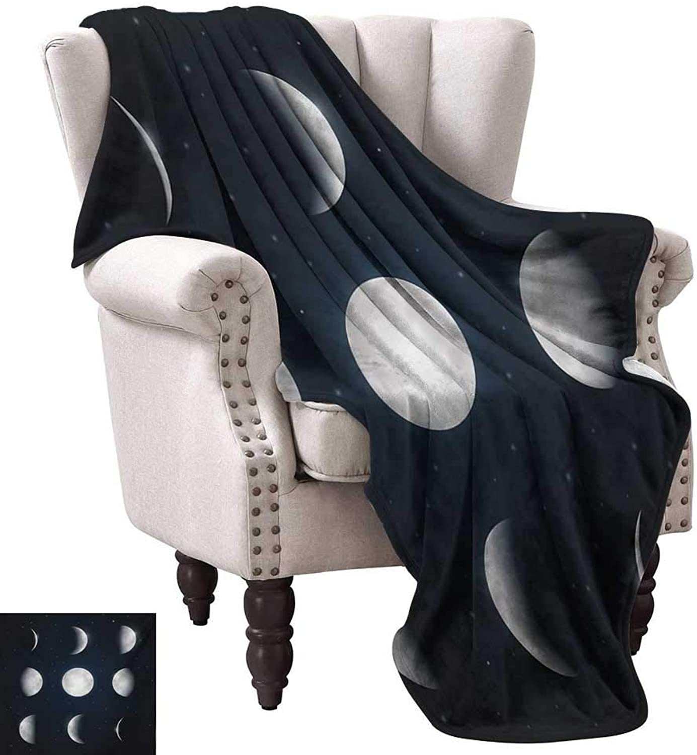 WinfreyDecor Moon Phases Warm Blanket Astronomy Astrology Theme Universe Cosmos Movement Celestial Lunar All Season for Couch or Bed 60  Wx60 L Dark bluee Silver White