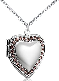 """POWER WING Jan-Dec Birthstone CZ Love Heart Locket Necklace That Holds Pictures Living Memory Lockets,18"""""""