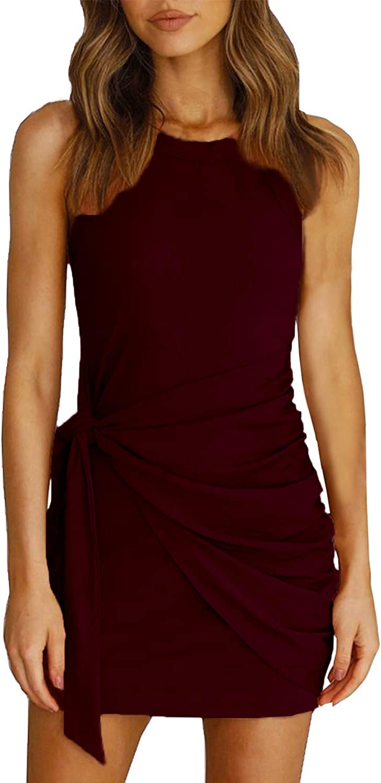 Yingkis Women's Summer Casual Tank Dress Crew Neck Ruched Tie Waist Sleeveless Bodycon Short Mini Dresses