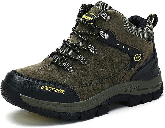 SELCNG Chaussures de randonnée Unisexes Chaussures de Marche imperméables Chaussures de Marche pour Hommes avec Chaussures de randonnée pour Sports de Plein air-vert-45