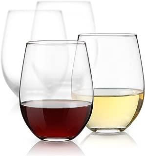 Luminarc 15 Ounce Stemless White and Red Wine Glasses, Set of 12 Tumbler Glasses Set. Best Wine Goblet Glasses Bulk.