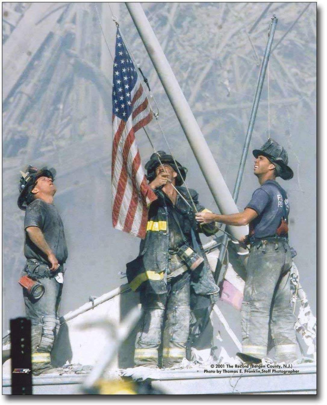 New York Firefighters Raising Flag 9/11 NYC 8x10 Silver Halide Photo Print