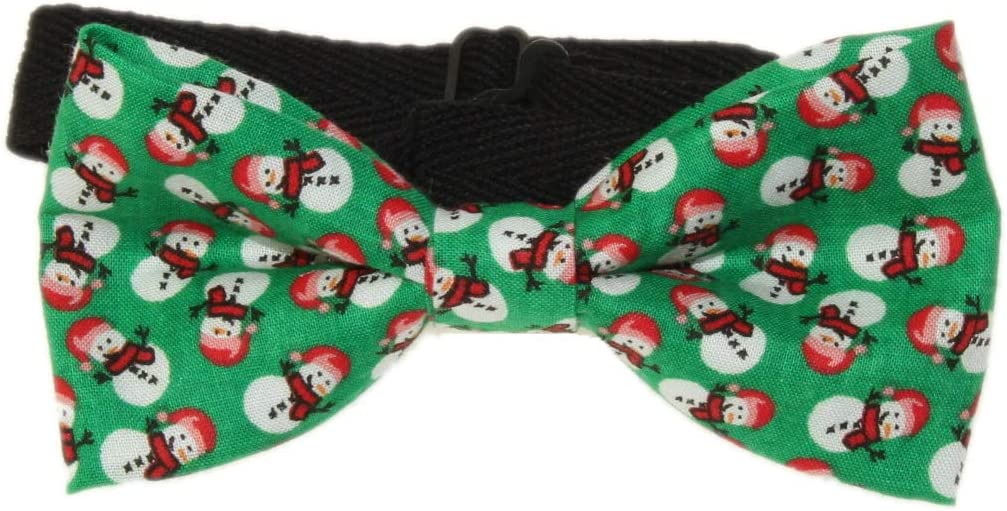 Men's Green Snowman Pre-Tied Cotton Bow Tie On Adjustable Strap Holiday Bow Tie