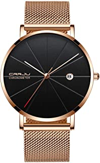 Men Classic Minimalist Casual Watch Male Rose Gold Stainless Steel Mesh Strap Quartz Wrist Watch