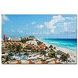 México Cancun Beach Jigsaw Puzzle 1000 piezas juego ilustraciones viaje recuerdo madera