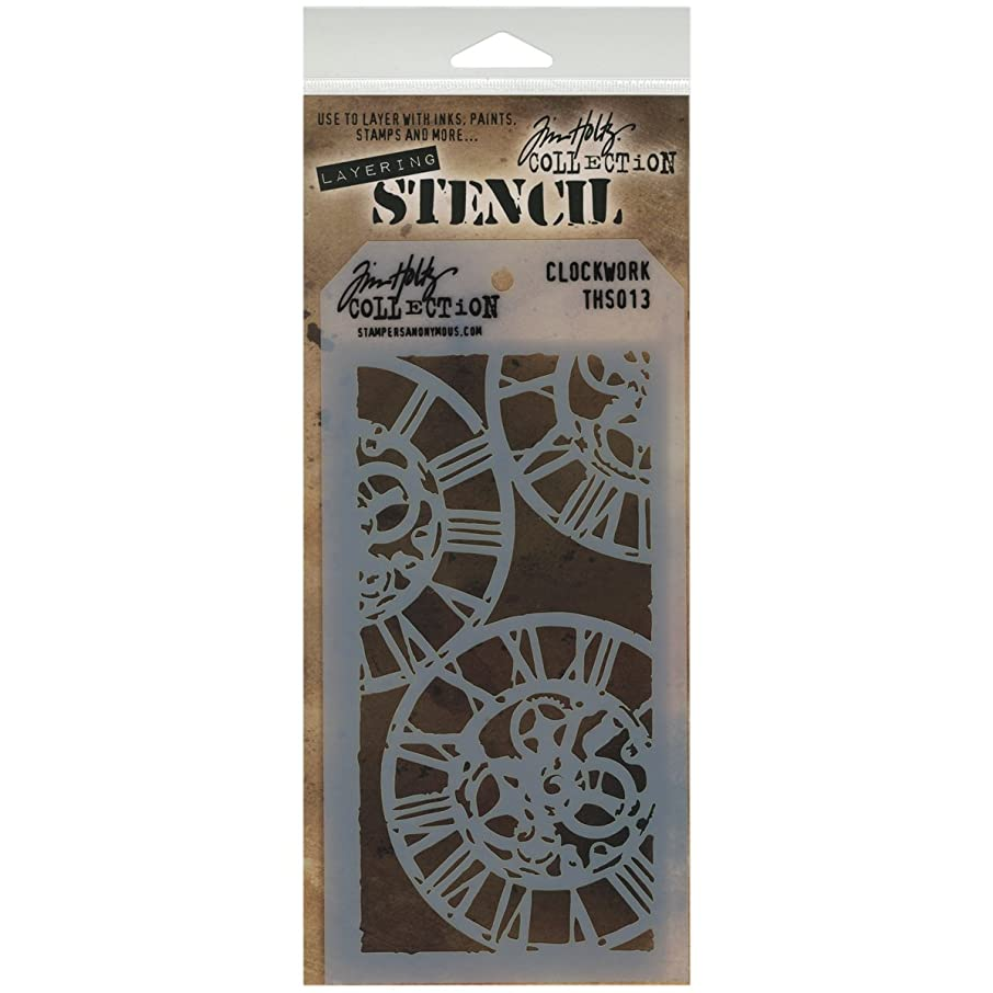 Stampers Anonymous Tim Holtz Layered Stencil, 4.125 by 8.5-Inch, Clockwork