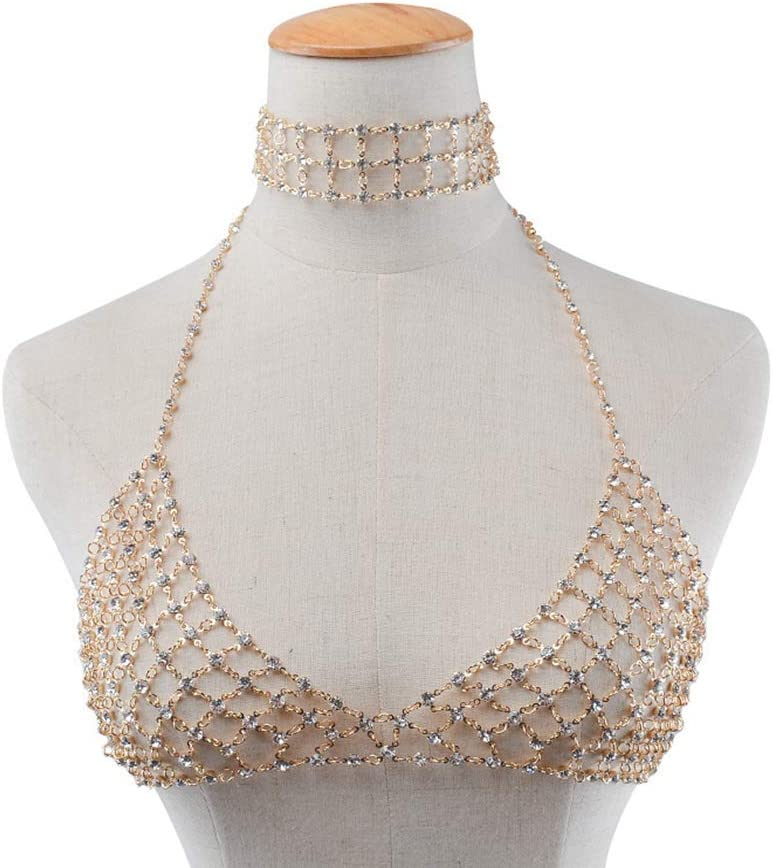 PRETYZOOM Sexy Sequin Clothes Chain Bikini Bra Body Jewelry Costume Accessory for Women Beach Party Club Bar (Golden) Party Favors