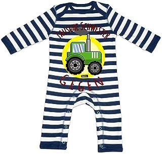 HARIZ HARIZ Baby Strampler Streifen Tausche Schwester Gegen Traktor Bagger Eisenbahn Inkl. Geschenk Karte Navy Blau/Washed Weiß 6-12 Monate