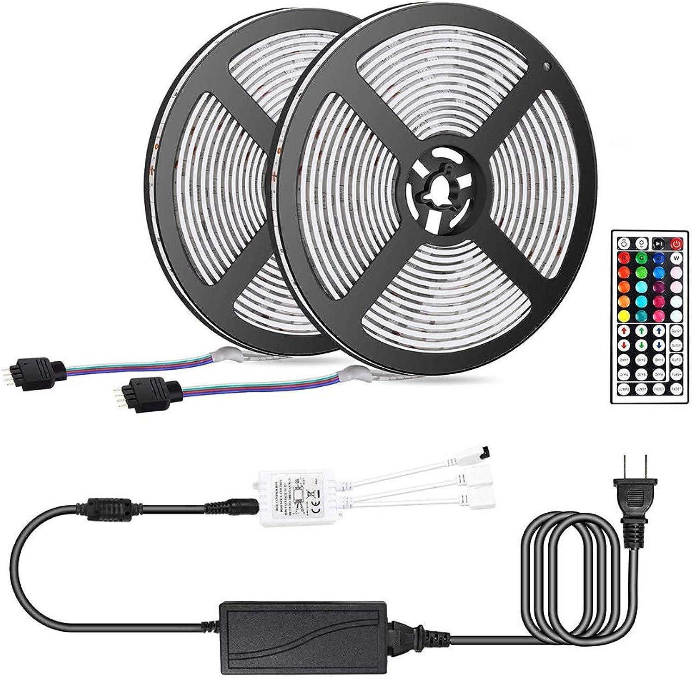 FGKING LED-Strip-Licht, Nicht-wasserdicht 16.4ft RGB Rope Lighting Farbe Change Full Kit mit 44-Tasten-Controller und 5A Power Supply LED-Leuchtstreifen,10m 32.8