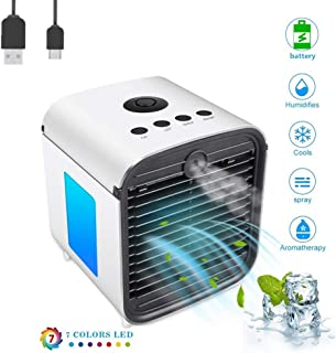 Climatizador Evaporativo Air Cooler Portatil Aire Acondicionado,Mini Ventilador Humidificador Purificador de Aire, 7 Colores Luces LED