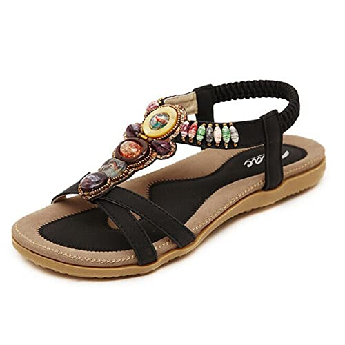 6382317166c2f Zicac Women s Open Toe Sandals Summer Bohemia Rhinestone Bead Folk Dunlop  Sandals Boho Beach Flip Flops