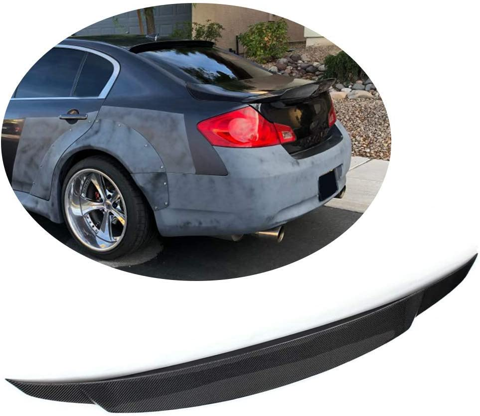 Non 2-Door JC SPORTLINE fits Infiniti G25 G35 G37 Q40 Sedan 4-Door 2007-2015 Carbon Fiber Rear Trunk Lip Spoiler Wing