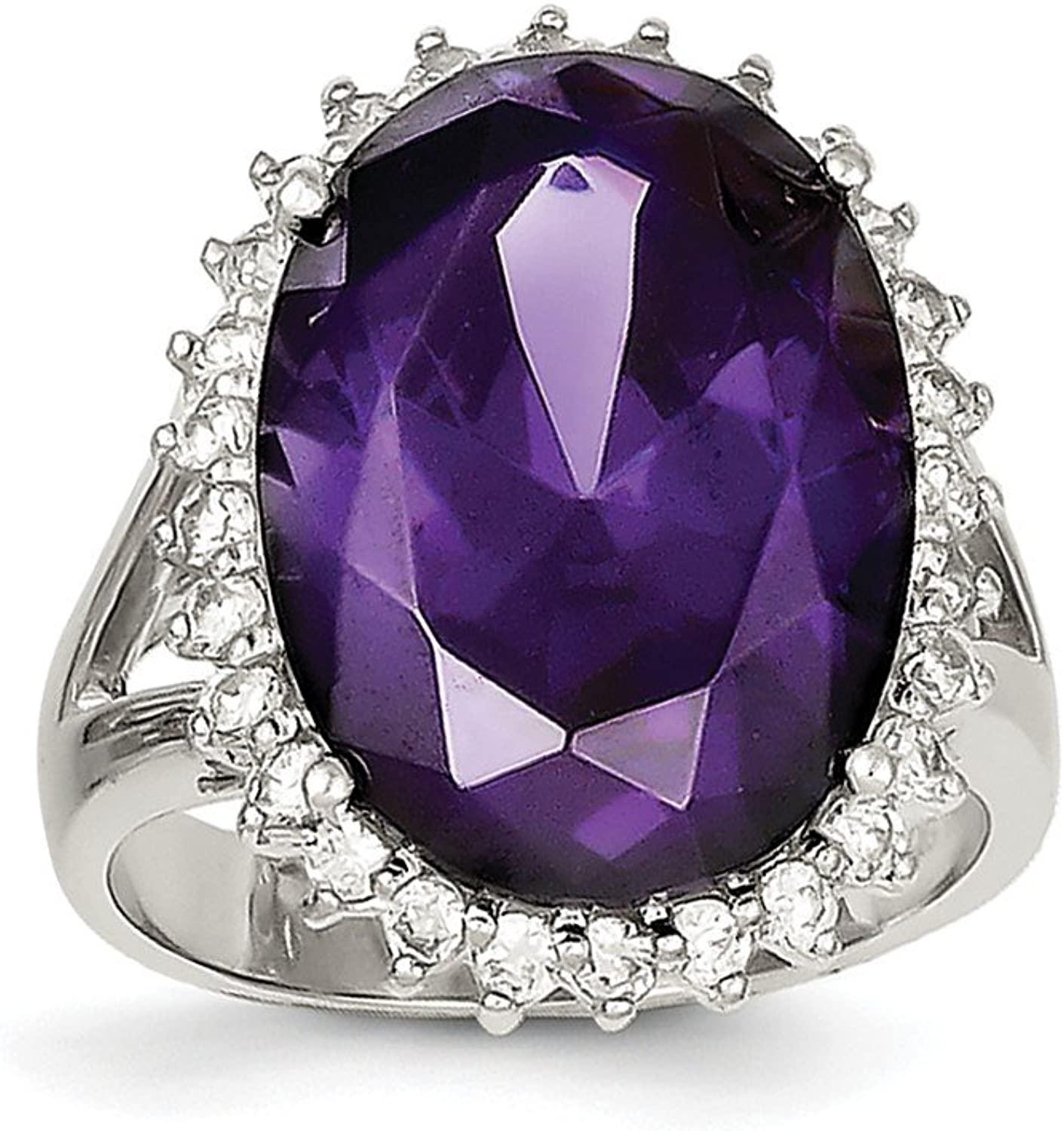 925 Sterling Silver Purple And White Cubic Zirconia Ring