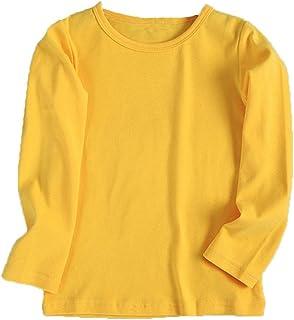 Tonsee 子供服 男の子 女の子 トップス 長袖 カットソー Tシャツ ブラウス 無地 ベーシック キッズ服 赤ちゃん 春秋冬 上着 ラウンドネック お出かけ 通園 通学 90CM-130CM