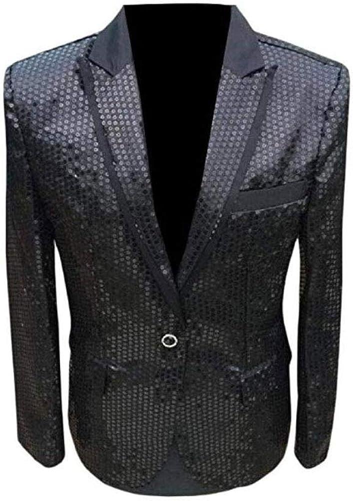 Men's Black One Button Blazer Sequined Nightclub Tuxedo Jacket Wedding Coat Black 48 Chest / 42 Waist