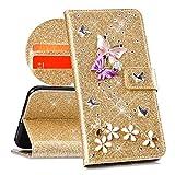 QPOLLY Cover Compatibile con iPhone XR, Cover Brillantini Glitter Pelle PU Flip Libro Portafoglio Magnetica Supporto Custodia con 3D Bling Strass Cristallo Diamante Farfalla Fiori Design,Oro