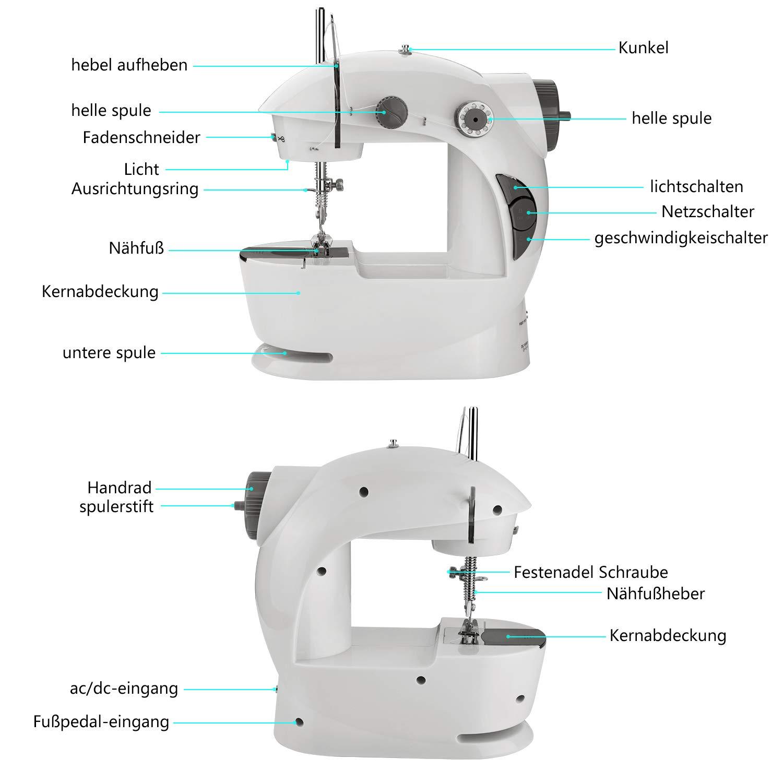 EletecPro Máquina de coser electrodoméstica mini máquina de coser con pedal eléctrico + pedal de pie máquina de coser compacta aguja individual línea recta velocidad ...