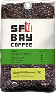 SF Bay Coffee Organic Rainforest Blend Whole Bean 2LB (32 Ounce) Medium Roast