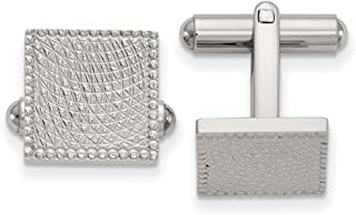 Lex & Lu Chisel Stainless Steel Polished & Textured Square Cuff Links LAL151272