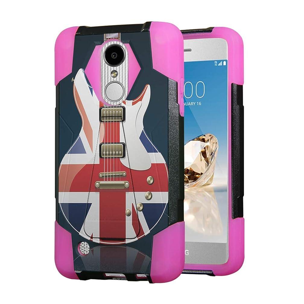 Moriko Case for LG Aristo 2 3 Plus, Tribute Empire Dynasty, Rebel 3 4 LTE, Fortune 2, Phoenix 3 4, Risio 2 3, Zone 4, K8, K8S, K8 Plus Kickstand Black Cover Case (British Flag Guitar)