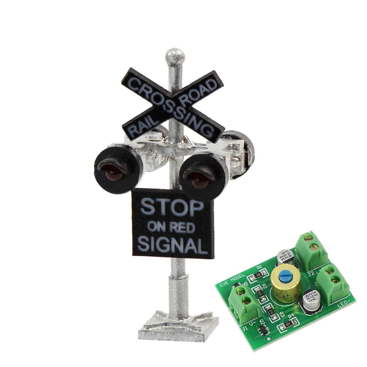 Galapagoz Railroad Crossing Signal Flashing Red Lights RR Xing Train Sign Light USA