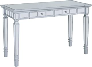 Mirrored Writing Desk - Silver Mirror Vanity Table with Two Drawers - Glam Design