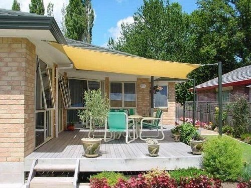 Petra's 20 Ft. X 20 Ft. Square Sun Sail Shade. Durable Woven Outdoor Patio Fabric w/Up To 90% UV Protection. 20x20 Foot. (Desert Sand)