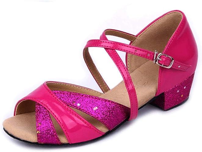 Filles Chaussures de Danse Latine Chaussures de Danse pour Enfants Chaussures de Danse à Fond Mou Chaussures de Pratique Chaussures de Danse (Couleur   Rouge, Taille   39 EU)