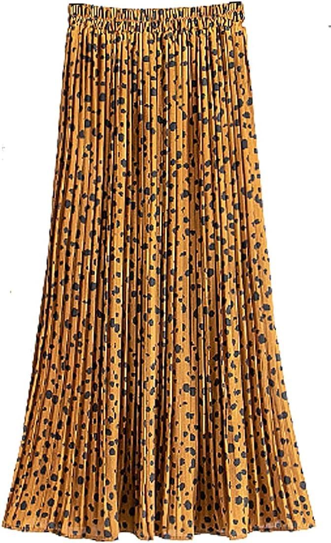 G-dress Globalwells Women Chiffon Leopard Pleated Midi Skirt High Waist Swing Boho Skirt Elastic A-line Long Skirts