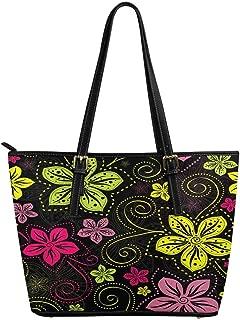 InterestPrint Top Handle Satchel HandBags Shoulder Bags Tote Bags Purse Vivid Colorful Vintage Flowers Curls