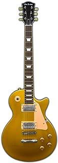Glen Burton GE320-GLD Classic Single Cut Style Electric Guitar, Gold with Tan Pick Guard