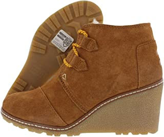 TOMS Women's Desert Wedge Wheat Suede/Shearling/Faux Crepe Wedge 5.5 B US