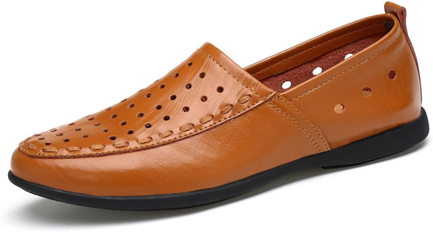 Men's Genuine Leather Moccasins Slip on Suede Insole Loafer (color   Light Brown Breathable Style, Size   9 D(M) US)