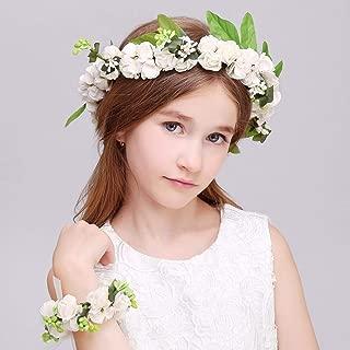 Aukmla Wedding Flower Crown Bridal Floral Headpiece Flower Girl Headband Garland Halo Flower Wrist Band for Women and Girls (Green)