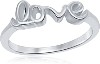 AceLay 925 Sterling Silver Infinity Ring, Wedding Engagement Love Script Plain Band Ring Size 3-10