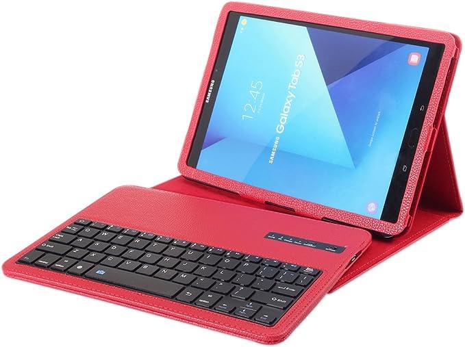 Funda de teclado inalámbrico para Samsung T820/T825, funda de teclado Bluetooth para Galaxy Tab S3 9.7, funda de piel con teclado desmontable para ...