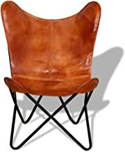 Vintage Butterfly Chair Rustic Leather Accent Seater Countryside Furniture Country Retro Armchair Handmade Antique Casual Country Modern Southwestern Traditional (Brown)